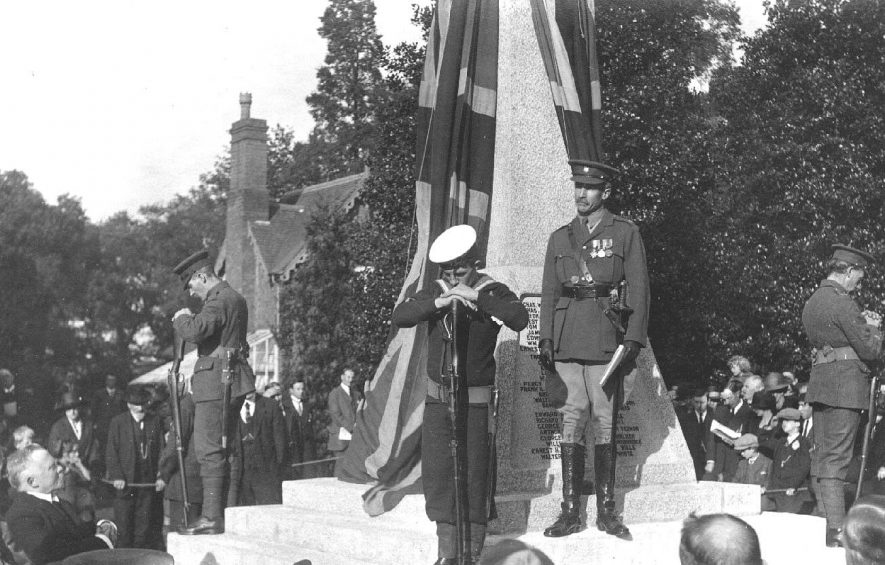 Ceremony at War Memorial, Atherstone.  1920s |  IMAGE LOCATION: (Warwickshire County Record Office)
