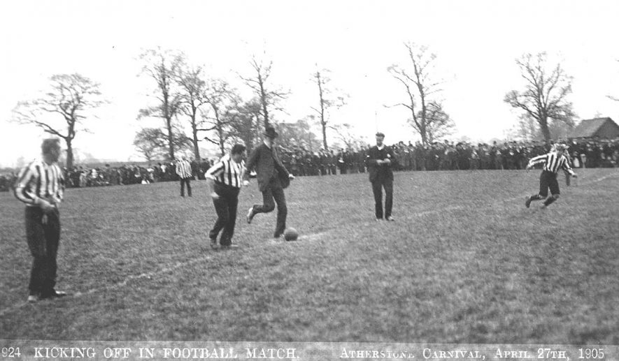 Football match kick-off during Atherstone Carnival on April 27th.  1905 |  IMAGE LOCATION: (Warwickshire County Record Office)