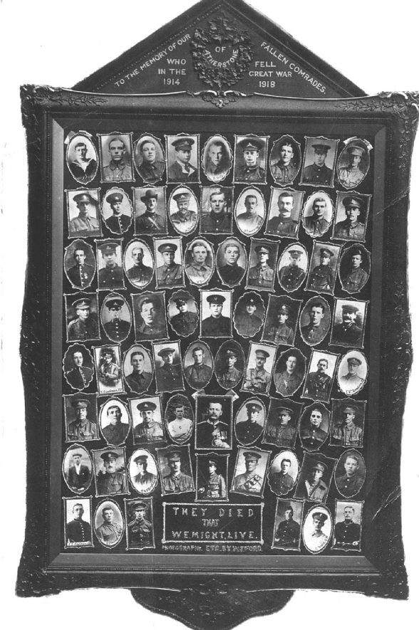 Framed collection of memorial portraits with inscription