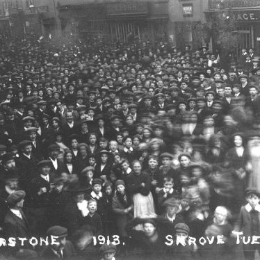Atherstone.  Crowd for Shrove Tuesday