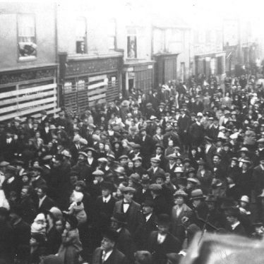 Atherstone.  Long Street, showing crowd
