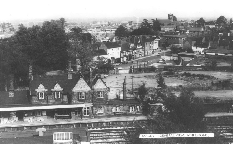 View of Atherstone railway station and town beyond.  1960s |  IMAGE LOCATION: (Warwickshire County Record Office)