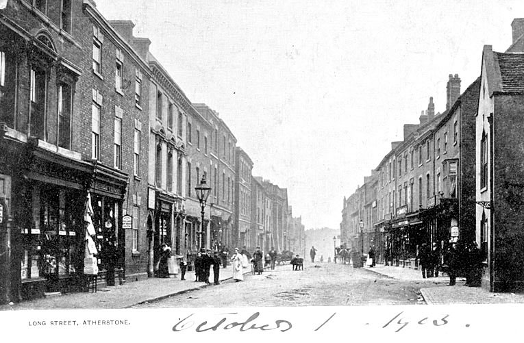 Long Street, Atherstone, with shops and pedestrians.  1900s |  IMAGE LOCATION: (Warwickshire County Record Office)