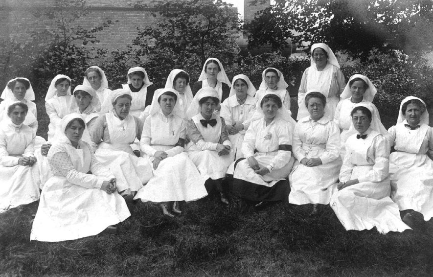 Group of nurses in uniform at Atherstone.  1905 |  IMAGE LOCATION: (Warwickshire County Record Office)