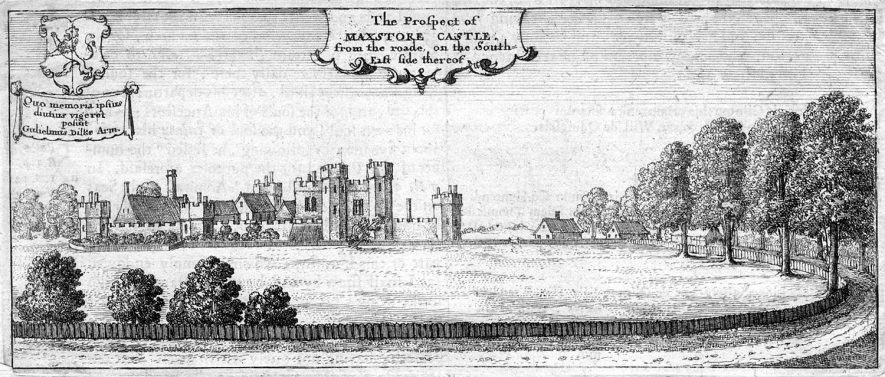 Engraving of distant view with part of Maxstoke Castle park and approach road.  1800s |  IMAGE LOCATION: (Warwickshire County Record Office) IMAGE DATE: (1750s)