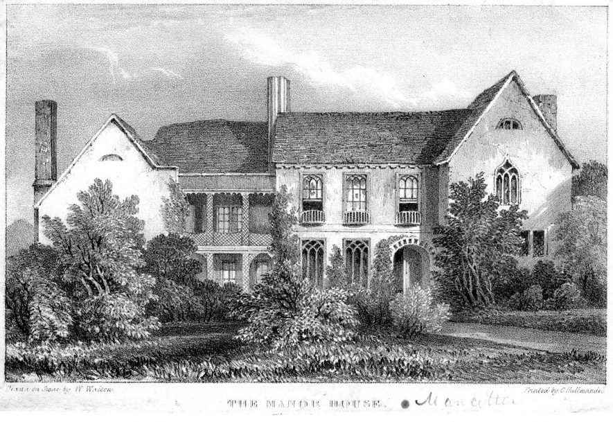 An engraving of Mancetter Manor House.  Before 1850 |  IMAGE LOCATION: (Warwickshire County Record Office)