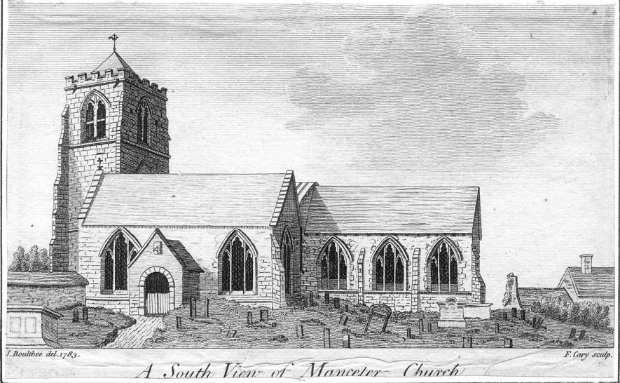 South view of Mancetter parish church.  Engraving.  Before 1850 |  IMAGE LOCATION: (Warwickshire County Record Office)