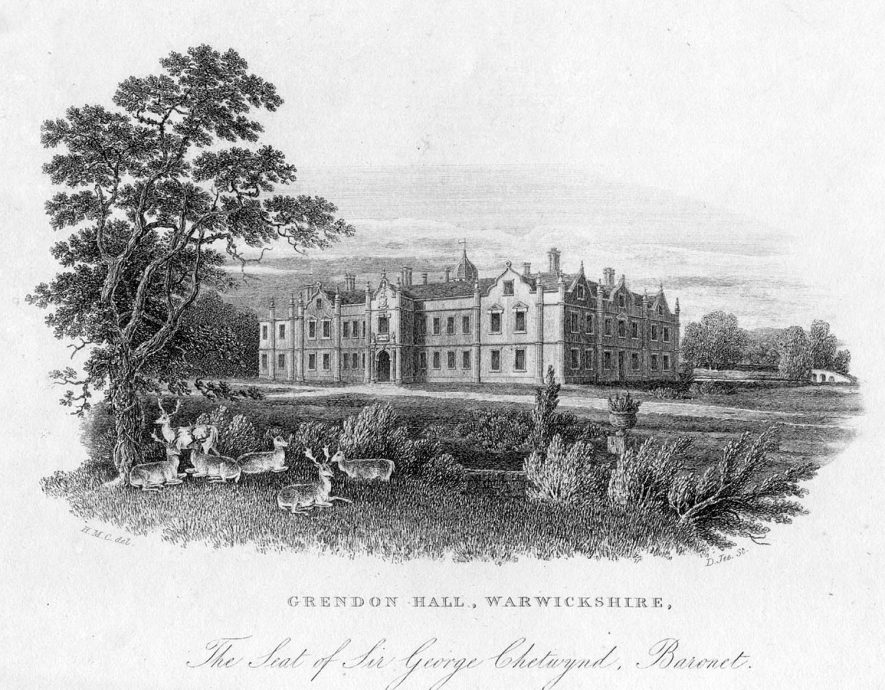 Grendon Hall seat of Sir George Chetwynd, Bart.  1800s |  IMAGE LOCATION: (Warwickshire County Record Office)