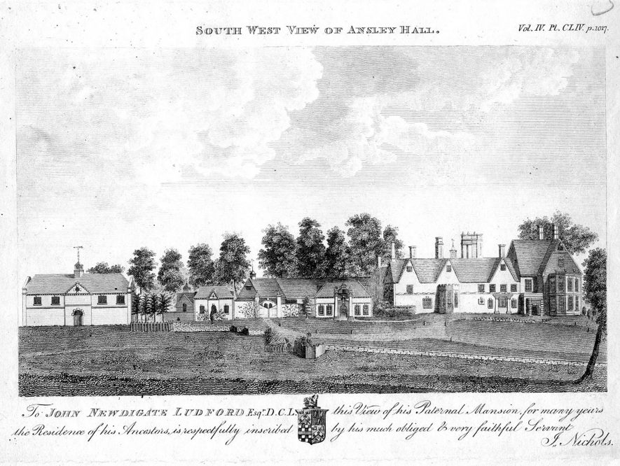 South West view of Ansley Hall.  1800s |  IMAGE LOCATION: (Warwickshire County Record Office)