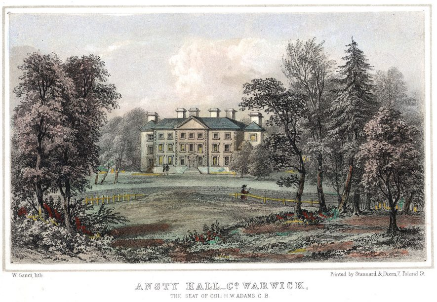 Seat of Col. H.W. Adams, Ansty Hall.  1800s |  IMAGE LOCATION: (Warwickshire County Record Office)