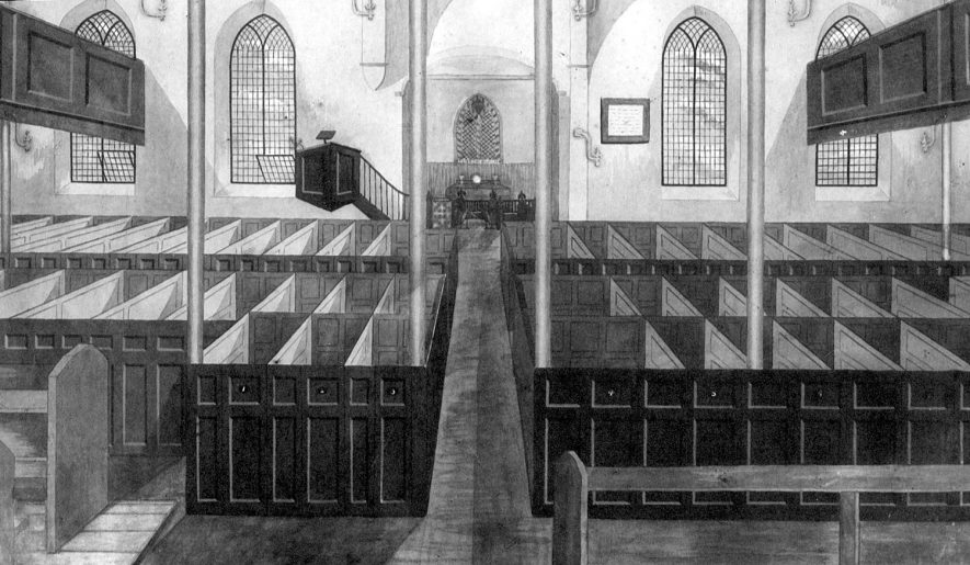 Interior of a nonconformist church, Bedworth.  1800s