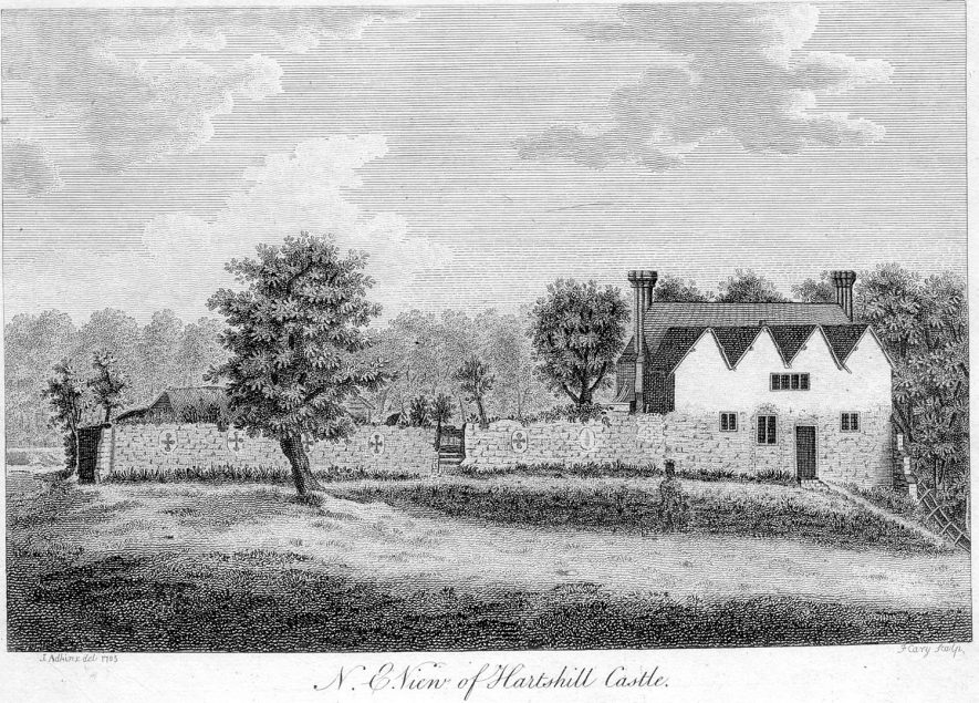 Hartshill Castle from the North East.  1785.  Drawn by J. Adkins and engraved by F. Cary. |  IMAGE LOCATION: (Warwickshire County Record Office)