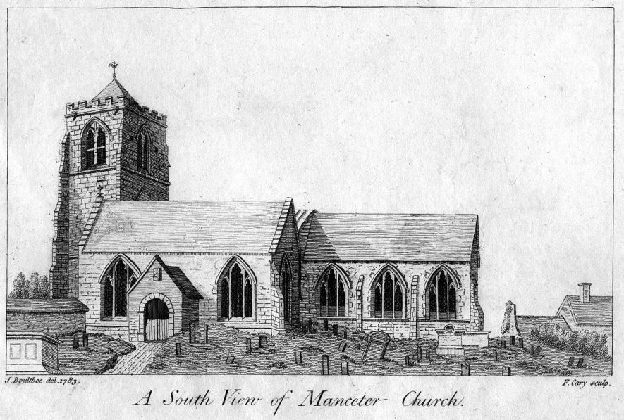 Mancetter church from the south.  1800s |  IMAGE LOCATION: (Warwickshire County Record Office)