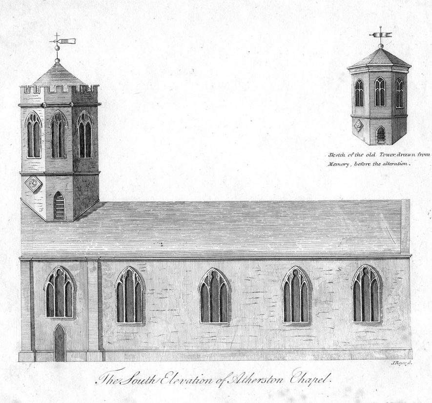Atherstone Church.  South Side.  1800s |  IMAGE LOCATION: (Warwickshire County Record Office)