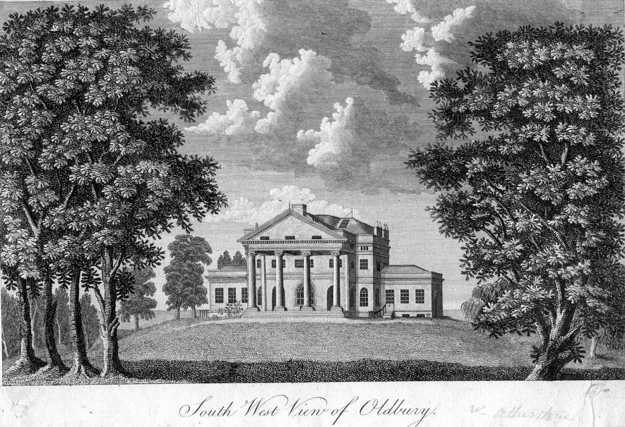 South West View of Oldbury Hall.  1800s |  IMAGE LOCATION: (Warwickshire County Record Office)