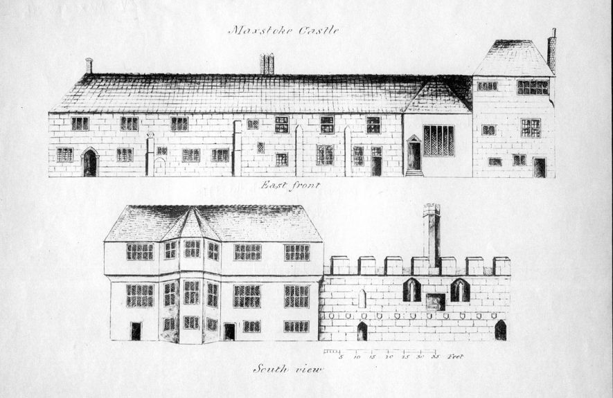 Drawings of Maxstoke Castle, east front and south view.  1800s |  IMAGE LOCATION: (Warwickshire County Record Office)