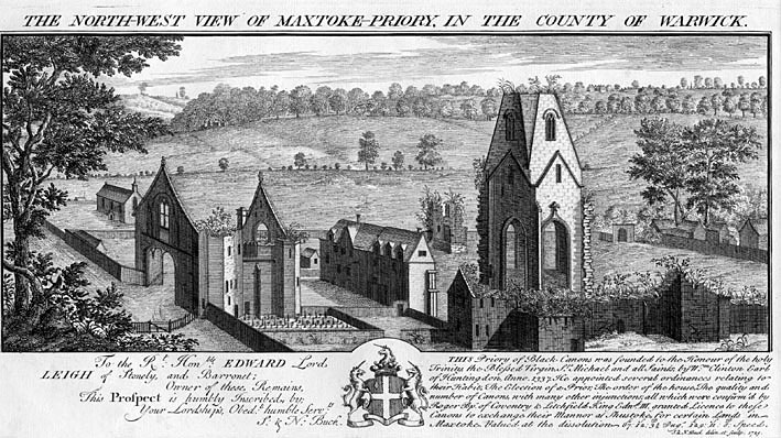Engraving of the remains of Maxstoke Priory from the Northwest.  1800s |  IMAGE LOCATION: (Warwickshire County Record Office)