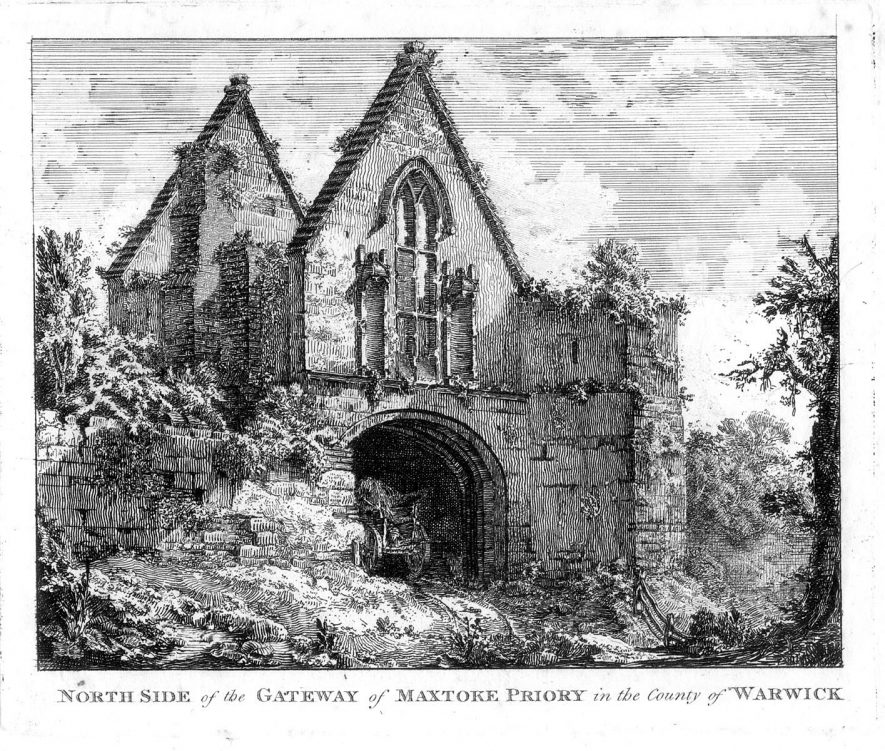Ruined gateway of Maxstoke Priory.  1800s |  IMAGE LOCATION: (Warwickshire County Record Office)