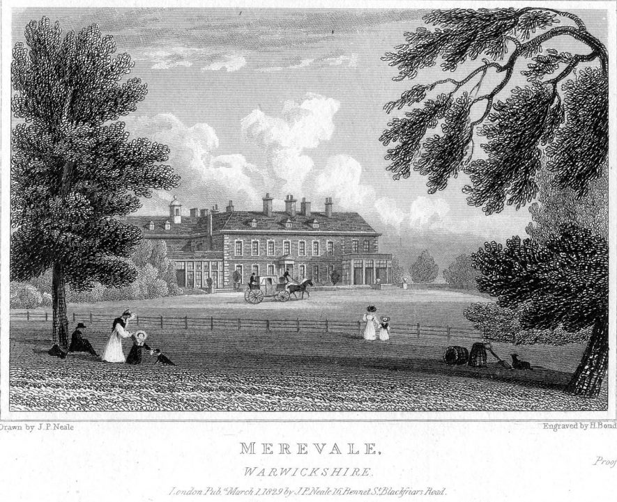 Merevale Hall in 1829.    IMAGE LOCATION: (Warwickshire County Record Office)