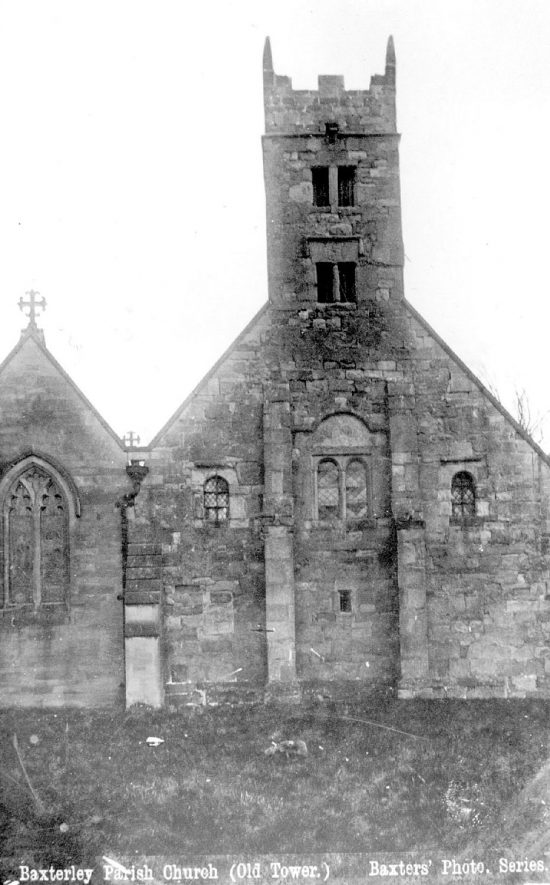 The old tower of Baxterley parish church.  1900s |  IMAGE LOCATION: (Warwickshire County Record Office)