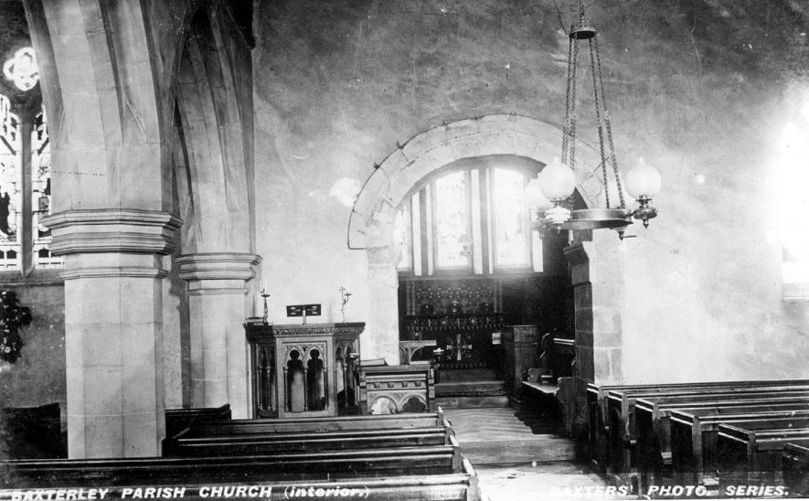 Interior of Baxterley parish church.  1900s |  IMAGE LOCATION: (Warwickshire County Record Office)