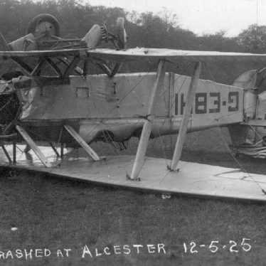 Alcester.  Aeroplane crash
