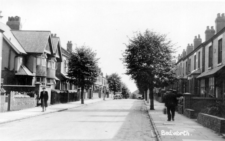 View of Park Road, Bedworth dating from the 1950s. |  IMAGE LOCATION: (Warwickshire County Record Office)