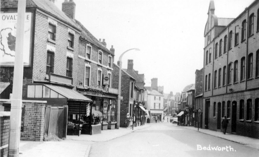 View of Leicester Street, Bedworth, with Pickering's hat factory on the right, dating from the 1950s. |  IMAGE LOCATION: (Warwickshire County Record Office)