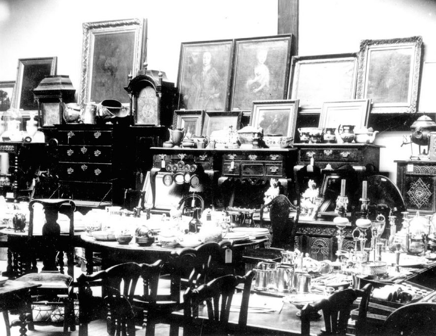 Collection of antiques made by Dr. E.W. Orton, displayed for sale at Lovetts sale room.  May 1905 |  IMAGE LOCATION: (Warwickshire County Record Office)