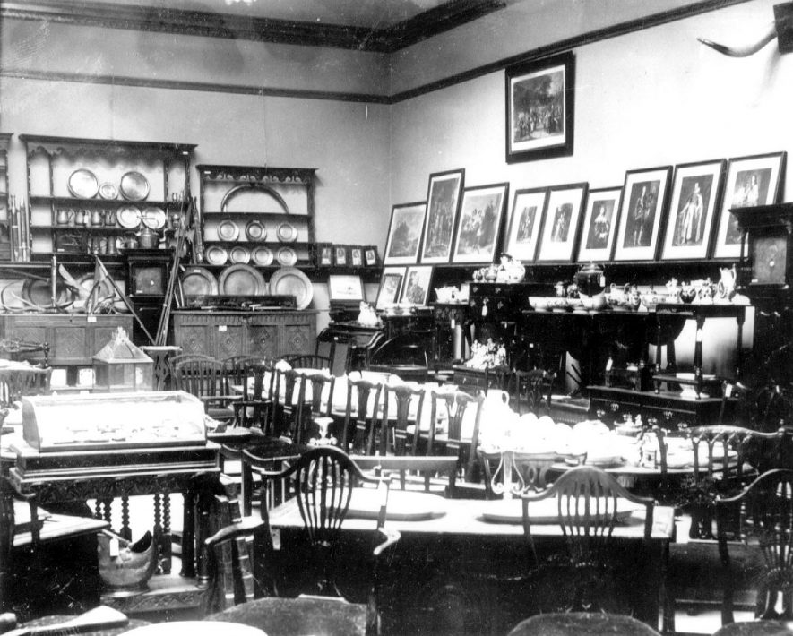 Collection of antiques made by  Dr E.W. Orton, of Congreve House Bedworth, displayed for sale at Lovetts salerooms.  May 1905 |  IMAGE LOCATION: (Warwickshire County Record Office)