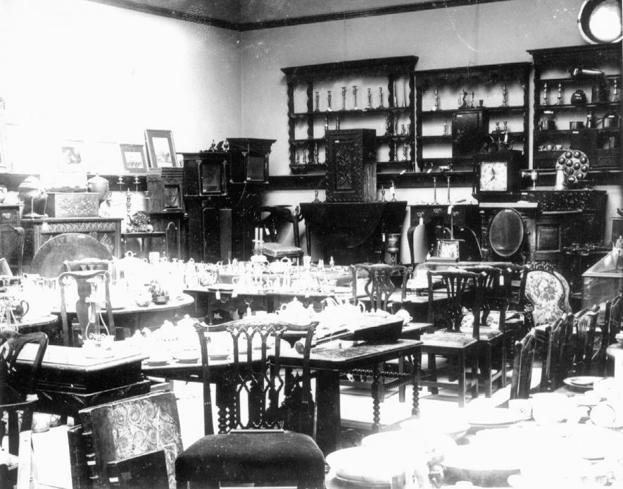 Collection of antiques made by Dr E.W. Orton, of Congreve House, Bedworth, displayed for sale at Lovetts salerooms.  May 1905 |  IMAGE LOCATION: (Warwickshire County Record Office)