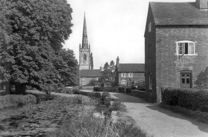 River Anker with the Church in the background, Witherley, near Atherstone.  1950s |  IMAGE LOCATION: (Warwickshire County Record Office)