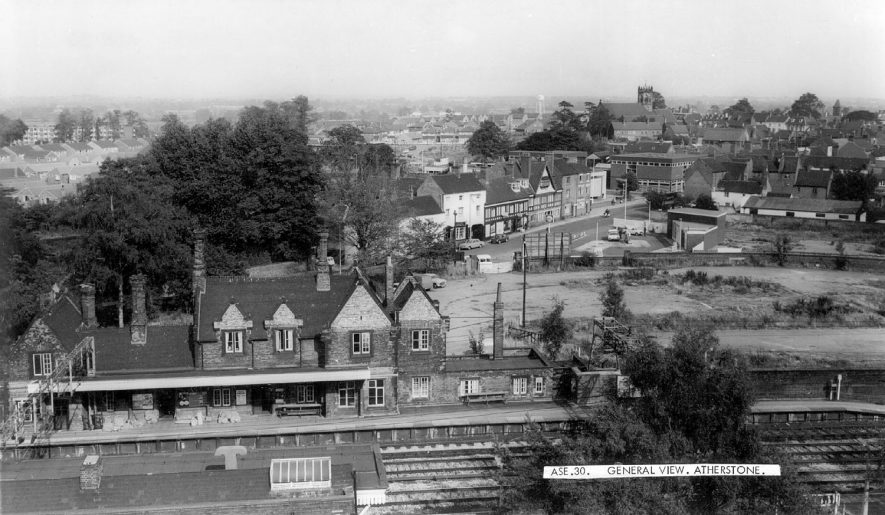General view from beyond the railway station, Atherstone.  1960s |  IMAGE LOCATION: (Warwickshire County Record Office)