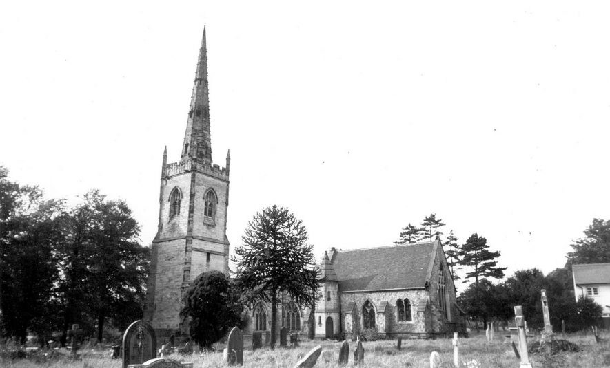 Witherley parish church and churchyard, near Atherstone.  1960s |  IMAGE LOCATION: (Warwickshire County Record Office)
