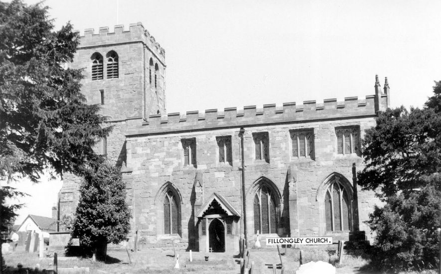 Exterior of St Mary and All Saints church, Fillongley.  1960s |  IMAGE LOCATION: (Warwickshire County Record Office)