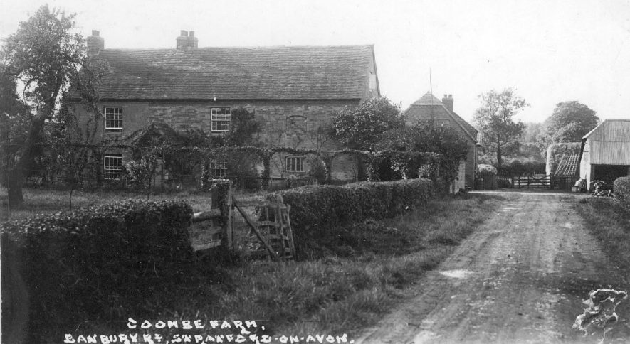 Coombe Farm, Banbury Road, Alderminster, showing the farmhouse, cottage and barn with garden and access lane.  1930s |  IMAGE LOCATION: (Warwickshire County Record Office)