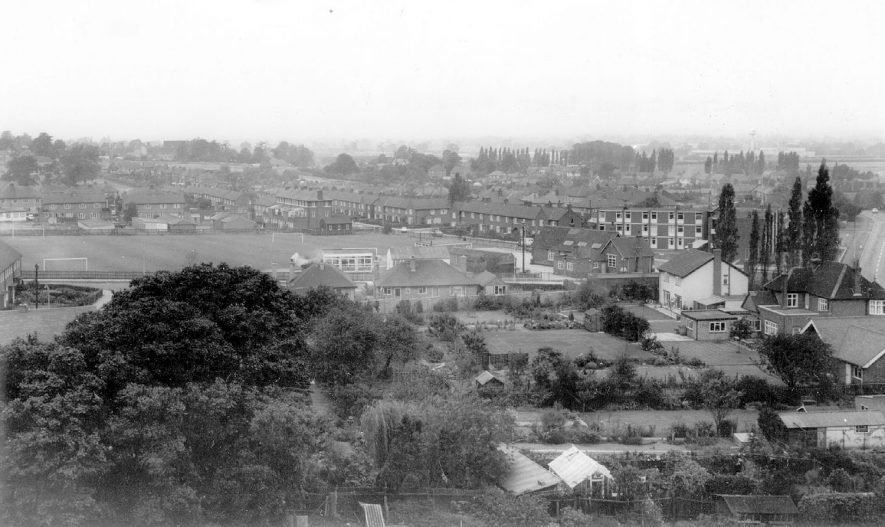 View of Mancetter from the church tower.  1960s |  IMAGE LOCATION: (Warwickshire County Record Office)