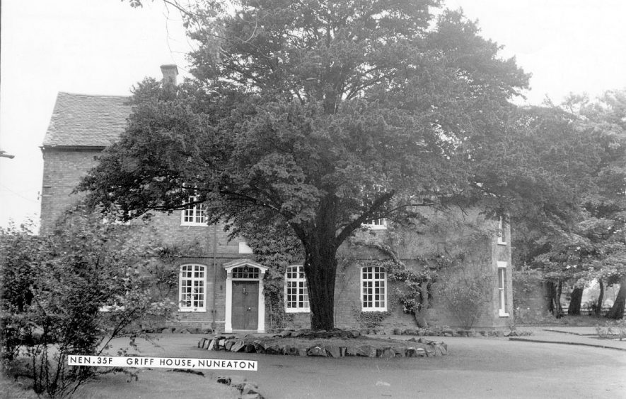 Griff House, Griff, the childhood residence of George Eliot.  1960s |  IMAGE LOCATION: (Warwickshire County Record Office)