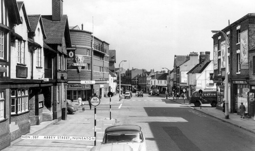 Abbey Street, Nuneaton, showing entrance to Ritz cinema.  1960s |  IMAGE LOCATION: (Warwickshire County Record Office)