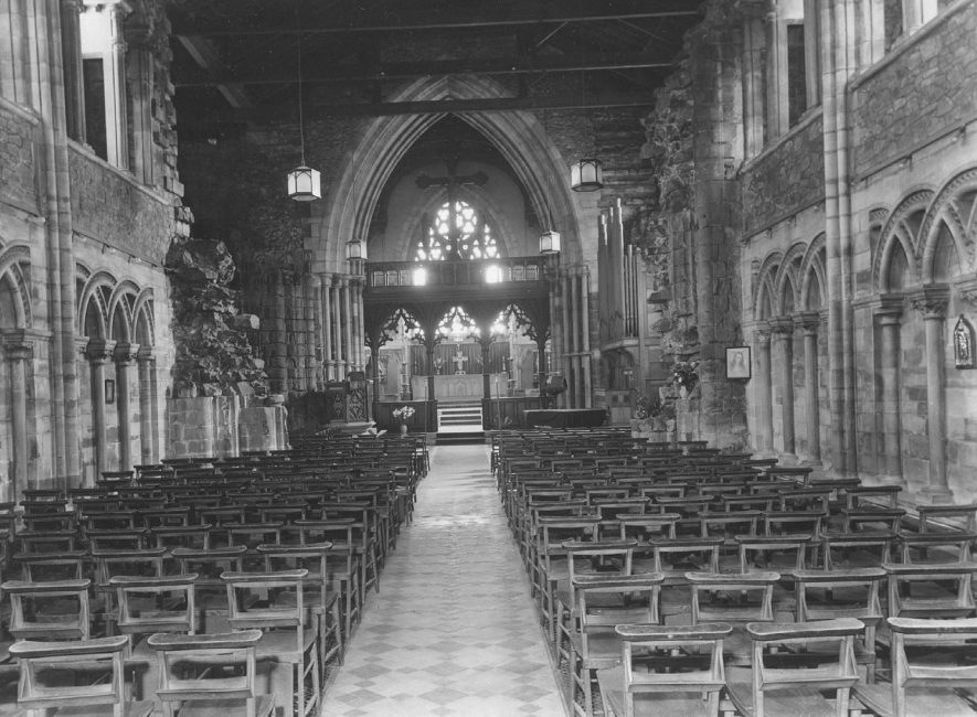 Inside St Mary's Abbey Church, Nuneaton.  1960s |  IMAGE LOCATION: (Warwickshire County Record Office)