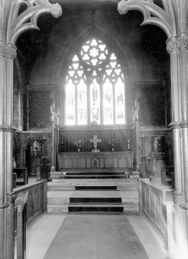 The chancel end of St Mary's Abbey Church, Nuneaton.  1960s |  IMAGE LOCATION: (Warwickshire County Record Office)