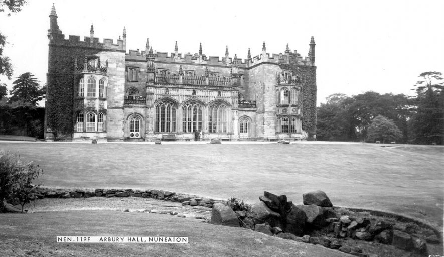 Arbury Hall, Nuneaton,  showing the gothic south front.  1960s |  IMAGE LOCATION: (Warwickshire County Record Office)