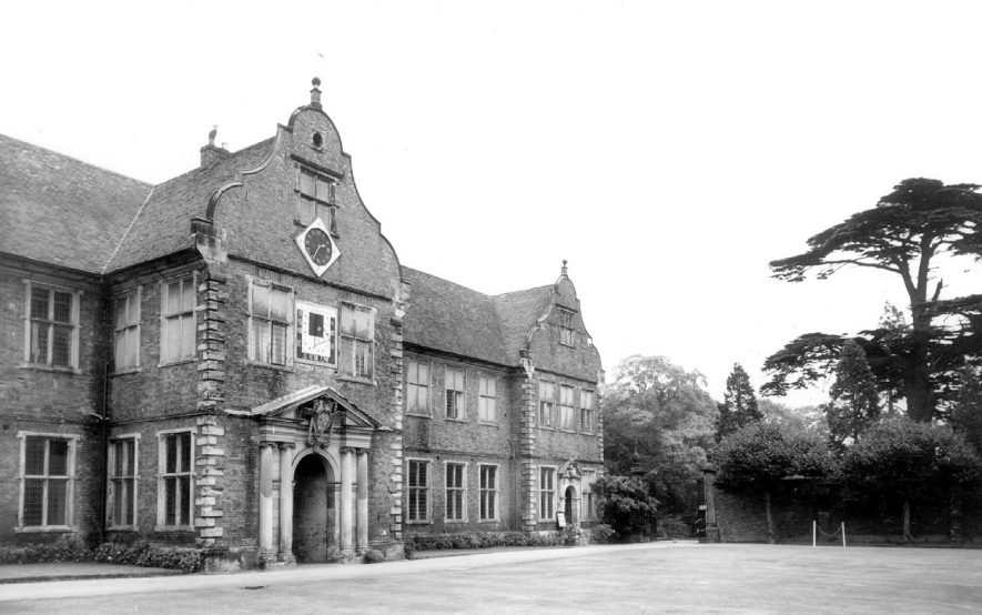 Arbury Hall, the entrance on the east front.  1960s |  IMAGE LOCATION: (Warwickshire County Record Office)