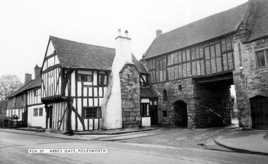 Abbey Gate at Polesworth, and adjacent timber framed housing.  1960s |  IMAGE LOCATION: (Warwickshire County Record Office)