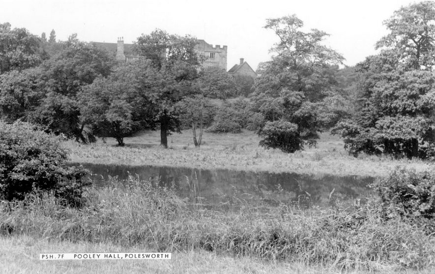 View of Pooley Hall through the trees, Polesworth.  1950s |  IMAGE LOCATION: (Warwickshire County Record Office)