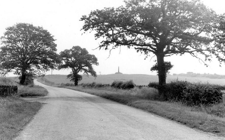 The Monument, Polesworth.  An obelisk built by Sir George Chetwynd to mark the site of the Chapel of Hoo.  1950s |  IMAGE LOCATION: (Warwickshire County Record Office)