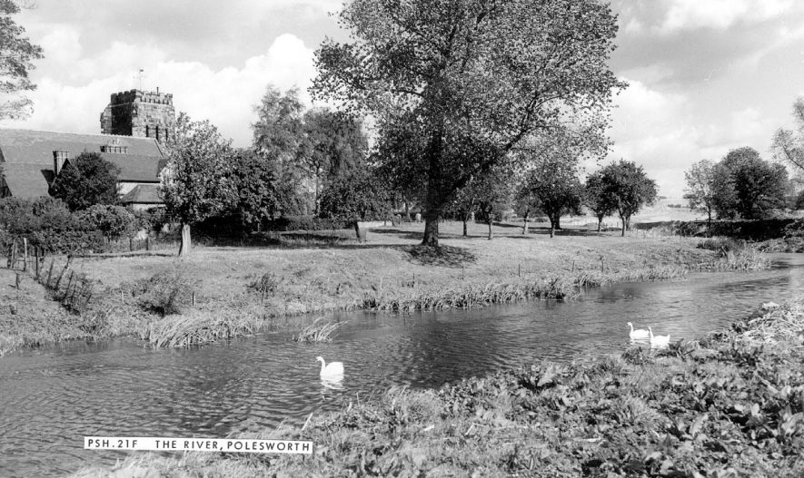 View of the River Anker with the Abbey Church tower in the background, Polesworth.  1960s |  IMAGE LOCATION: (Warwickshire County Record Office)