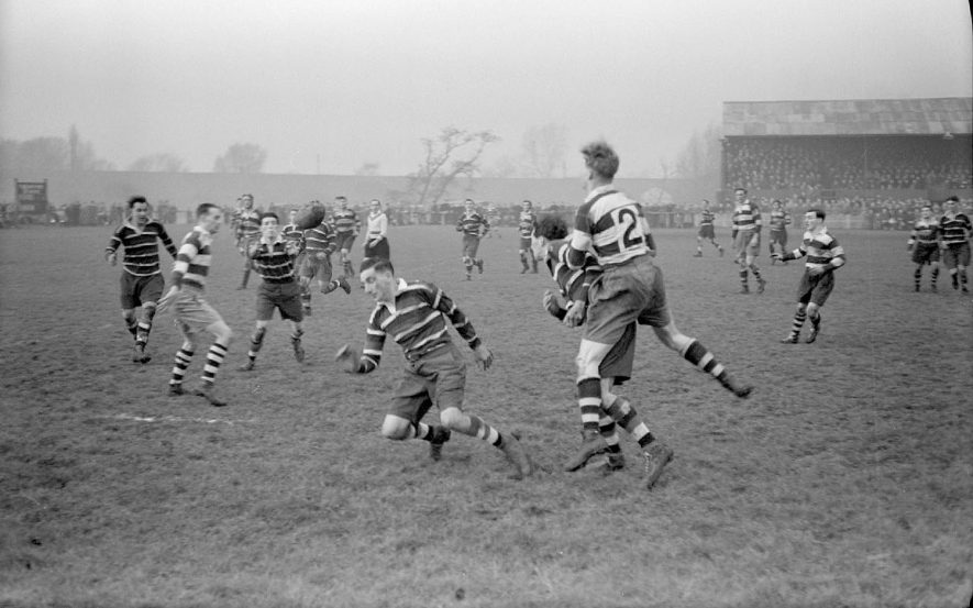 Nuneaton v. Coventry Rugby Clubs, 3pts each, at New Inn Ground, Attleborough Road, Nuneaton.  1951 |  IMAGE LOCATION: (Warwickshire County Record Office)