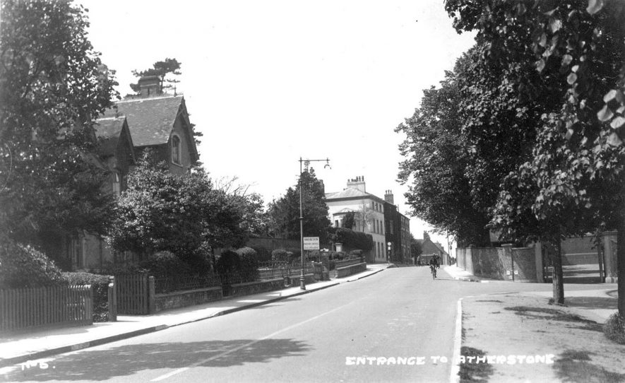 Street entering Atherstone. Houses and cyclist.  1930s |  IMAGE LOCATION: (Warwickshire County Record Office)