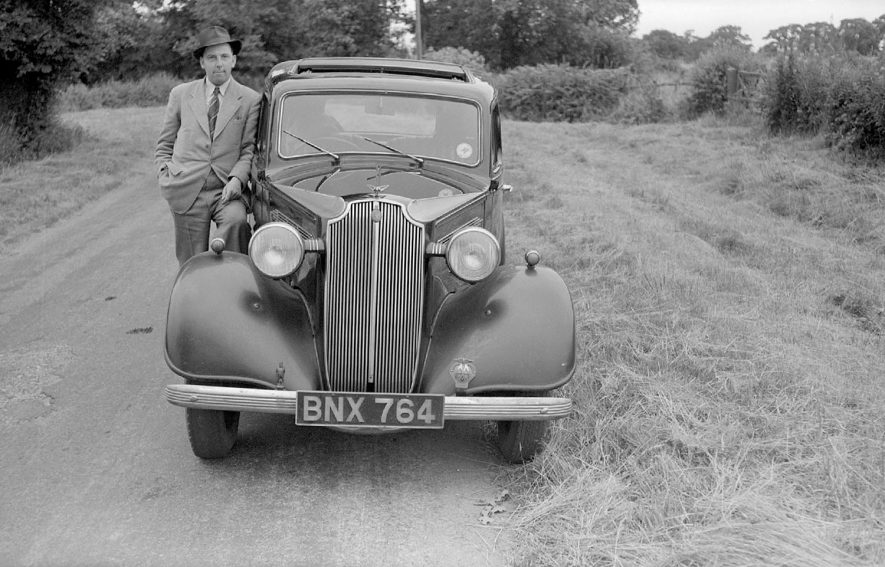 Mr Cyril Bull and his Vauxhall 12/6 near Burton Hastings.  1951 |  IMAGE LOCATION: (Warwickshire County Record Office) PEOPLE IN PHOTO: Bull, Cyril, Bull as a surname